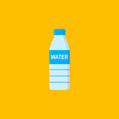 Bottle with water isolated on orange background