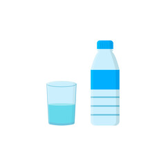 Bottle with water and glass on white background