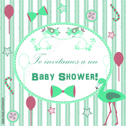 Baby Shower Invitation Card Design With Flamingo Festive Balloons