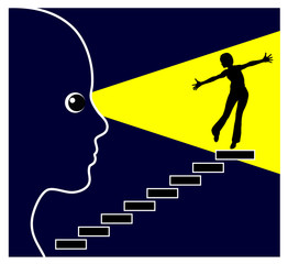 Vision of Success. Concept sign of a woman visualizing her dream of being successful