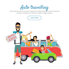 Auto Traveling Flat Design Vector Web Banner