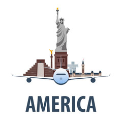 Travel emblem to America. Vacation. Trip to country. Travelling illustration. Modern vector flat.