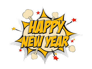 Happy New Year pop art comic background lightning blast halftone dots.
