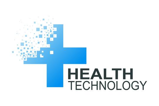 Health technology logo template. Medicine blue cross pixel abstract design