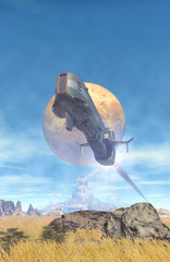 Wall Mural - spaceship flight over a planet