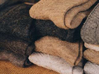 handmade socks at a market