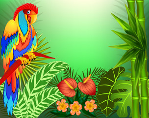 Illustration background with tropical leaves and parrots and place for text