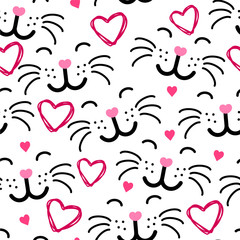 Cute cat face seamless pattern VECTOR