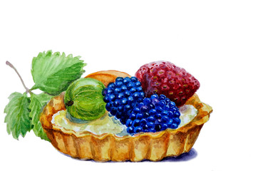Watercolor  illustration of a Fruit cake with berries
