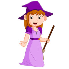 Cartoon witch holding broomstick