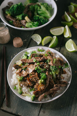 Asian beef with broccoli and mushrooms