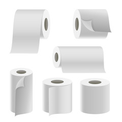 Realistic Paper Roll Set Vector. Template Blank White Toilet Paper roll Mock Up. Thermal Fax Roll Template Isolated Illustration