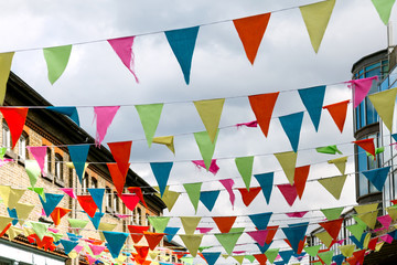 Colorful Flags in a London Street