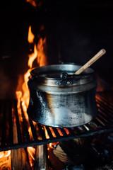 Cauldron inside the fireplace