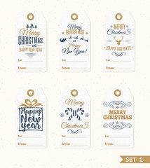 Christmas tags and labels set elements vector gold color with candy, santa and deer, snowflake, gift on holiday background. Christmas emblem. Happy New Year. Christmas decoration element.
