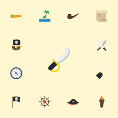 Flat Icons Ship Steering Wheel, Pirate Hat, Tobacco And Other Vector Elements. Set Of Pirate Flat Icons Symbols Also Includes Pipe, Map, Instrument Objects.