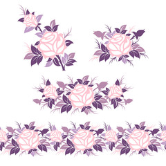 Collection of vector decorative elements with floral ornaments. Seamless vector border and different flower compositions.