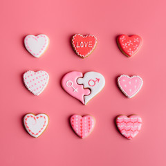 Close-up of heart shaped cookies on a pink background
