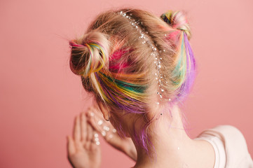 Woman with colorful hair and glitter stars in head