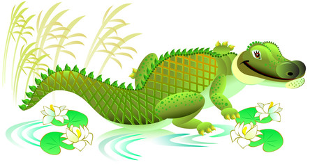Illustration of cheerful toy crocodile on white background. Vector cartoon image.