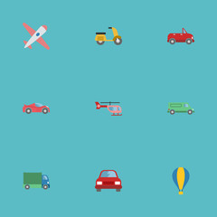 Flat Icons Transport, Luxury Auto, Chopper And Other Vector Elements. Set Of Auto Flat Icons Symbols Also Includes Scooter, Vehicle, Freight Objects.