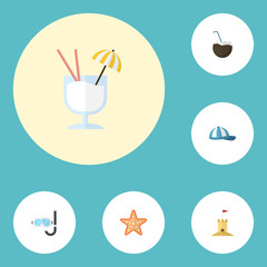 Flat Icons Aqualung, Castle, Hat And Other Vector Elements. Set Of Season Flat Icons Symbols Also Includes Cocktail, Coconut, Sand Objects.