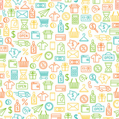 Shopping background. Seamless pattern with line art icons.
