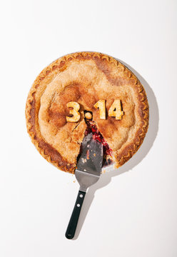 Pi: Cherry Pie For Pi Day With Slice Missing