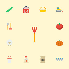 Flat Icons Bulldozer, Lamb, Rooster And Other Vector Elements. Set Of Agriculture Flat Icons Symbols Also Includes Cock, Bulldozer, Sack Objects.
