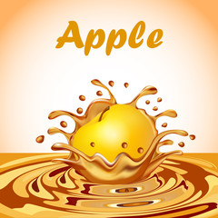 Illustration of a splash of juice from a falling apple and a drop