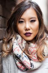Beautiful Asian woman  in an urban area