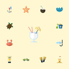 Flat Icons Swimming, Castle, Tortoise And Other Vector Elements. Set Of Summer Flat Icons Symbols Also Includes Coconut, Coupe, Tortoise Objects.