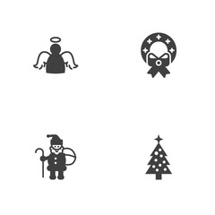 Set Of 4 Holiday Icons Set.Collection Of Christmas Wreath, Claus, Fir And Other Elements.