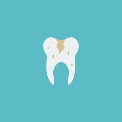 Flat Icon Caries Element. Vector Illustration Of Flat Icon Decay Isolated On Clean Background. Can Be Used As Decay, Caries And Tooth Symbols.