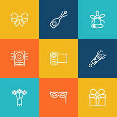 Set Of 9 Party Outline Icons Set.Collection Of Amplifier, Bow, Decorative And Other Elements.