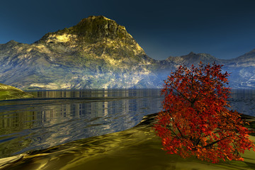 Golden lake, a beautiful landscape , grass and shrubs in the mountain, calm waters and a tree with red and yellow leaves.