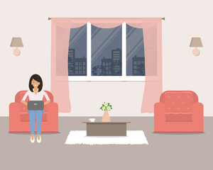 Living room with furniture on the window background. In the armchair is a young woman with a laptop. There are two red armchairs, a table and other objects in the picture. Vector flat illustration