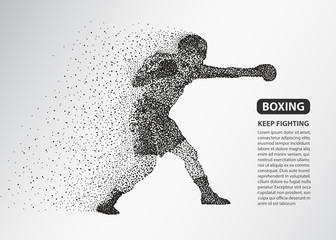 Boxer dots silhouette, Boxing fighter banner vector