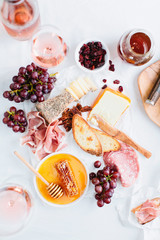 Cheeseboard with wine
