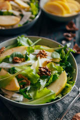 Delicious salad with fennel, apple and walnuts