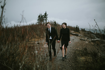 Bride and Groom Eloping on a Mountain