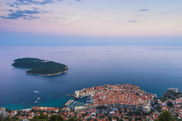 Dubrovnik, Croatia - Elevated View of the Old Town and the Island of Lokrum at Dusk