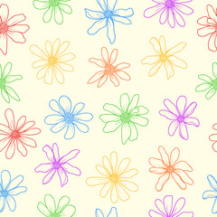 Seamless pattern colorfull flowers.