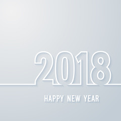 Happy new year 2018 paper postcard.