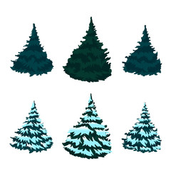 Green Christmas tree in the snow. Christmas. New Year. Drawing. Isolated.