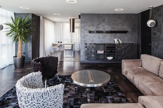 Living room in contemporary interior