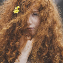 Portrait of a redhead with freckles