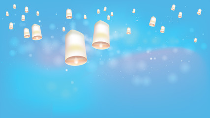 White Floating lanterns to Bright sky ceremony at North Thailand