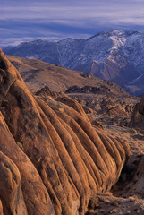 35-mm film image afternoon winter light on Alabama Hills and Inyo Mountains, California