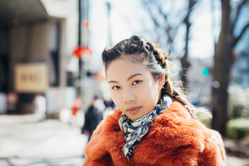 Young Stylish Japanese Woman on Sunny Day